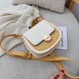 Contrast Color Crossbody Shoulder  PU Leather Travel Purses and Handbags - Fitness Adicts