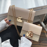 Chains Straw Beach Bags Crossbody Bags Lock Flap Purses - Fitness Adicts