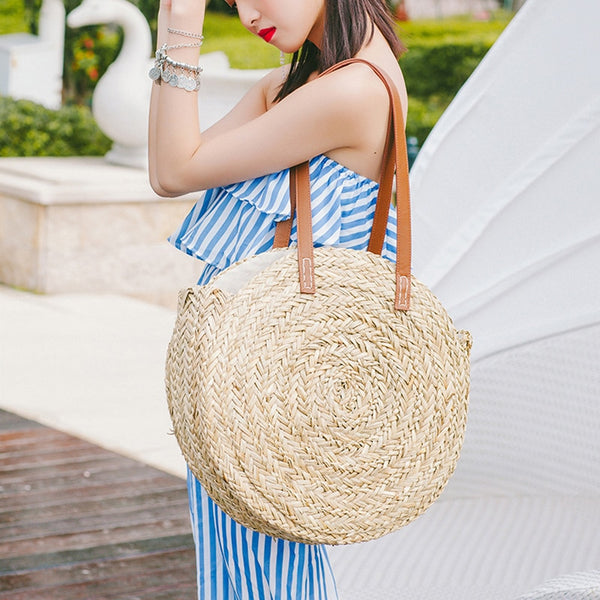 Handmade Round Straw Knitting Big Tote Bohemian  Basket Bag - Fitness Adicts