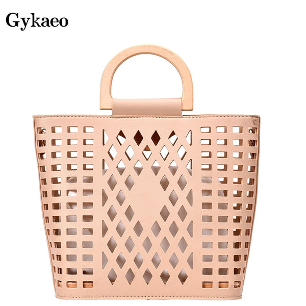 Wood Handle Tote Bags PU Leather - Fitness Adicts