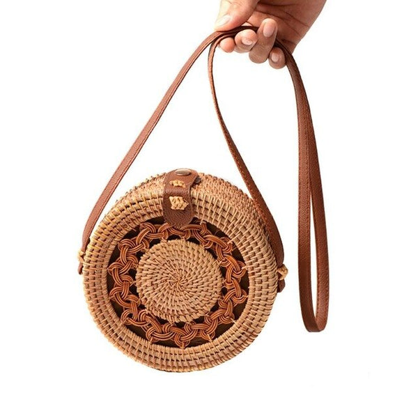 Fashion Round Rattan Crossbody Bohemian  Handbag - Fitness Adicts