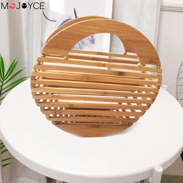 Bamboo Handbag Wooden  Round Hollow Summer Beach Bags Casual Cool - Fitness Adicts