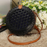 Round Rattan Straw Handmade Bohemia Handbag Circle  Crossbody - Fitness Adicts