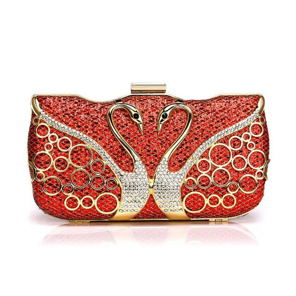 Elegant Swan Diamonds  Clutches  Sequined  Rhinestones Metal - Fitness Adicts