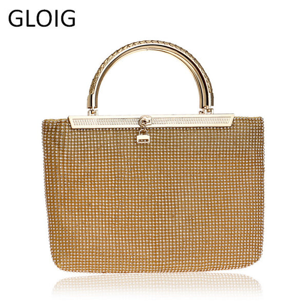 Design  Clutches  Rhinestones Metal Evening Bags Gold Silver Chain Shoulder Handbags - Fitness Adicts