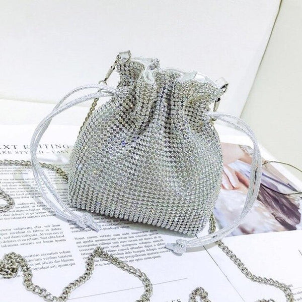 Rhinestone Inlaid Flash Bucket Clutch Bag For Evening Party Chain  Small Bags - Fitness Adicts