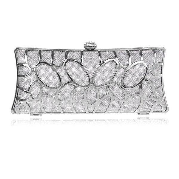 Elegant Metallic Exquisite  Rhinestone Hollow Bridal Wedding Party Bags Clutch - Fitness Adicts