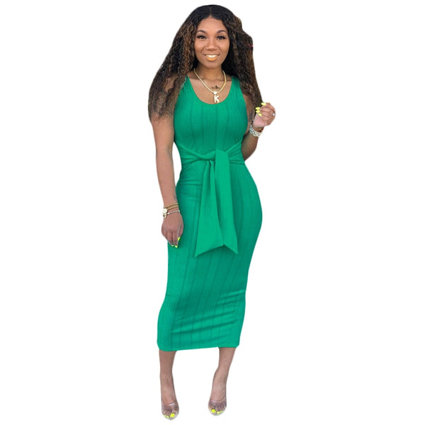 Casual Solid Color Round Neck Sleeveless Long Dress  Tight Dresses - Fitness Adicts