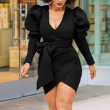 Long Lantern Sleeve Deep V Neck with Waist Belt Black Sexy Packaga Hip Wrap Dresses Elegant Classy Wear - Fitness Adicts