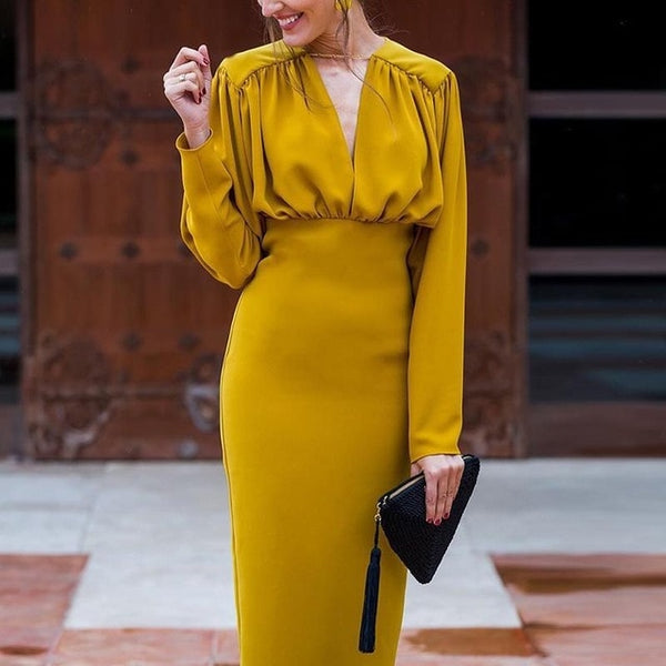 Elegant Vintage Ruched Yellow Dress Wear To Work Office Business Casual - Fitness Adicts