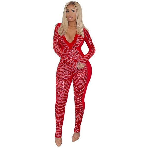 Sexy deep v-neck sequined jumpsuit Sparkly Sexy Bodysuit - Fitness Adicts