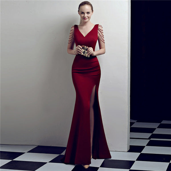 Wine Red Crystal Beading V Neck Sleeveless Long Sexy Cocktail Club Dress