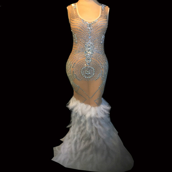 Sparkly Crystals Mesh Feather Dress  Evening Party Wear Luxurious Dress - Fitness Adicts