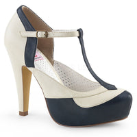 BETTIE-29 Navy Blue-Cream Faux Leather
