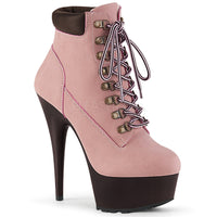 DELIGHT-600TL-02 Baby Pink Nubuck Faux Leather/D. Brown Matte