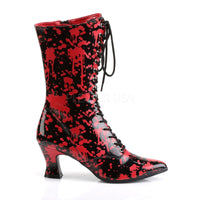 VICTORIAN-120BL Black-Red Patent