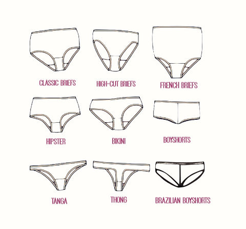 panties styles chart by Econica