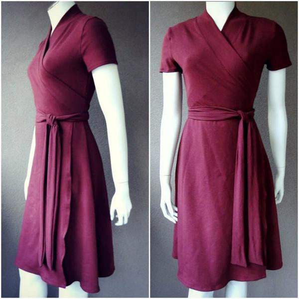 merlot red wrap dress