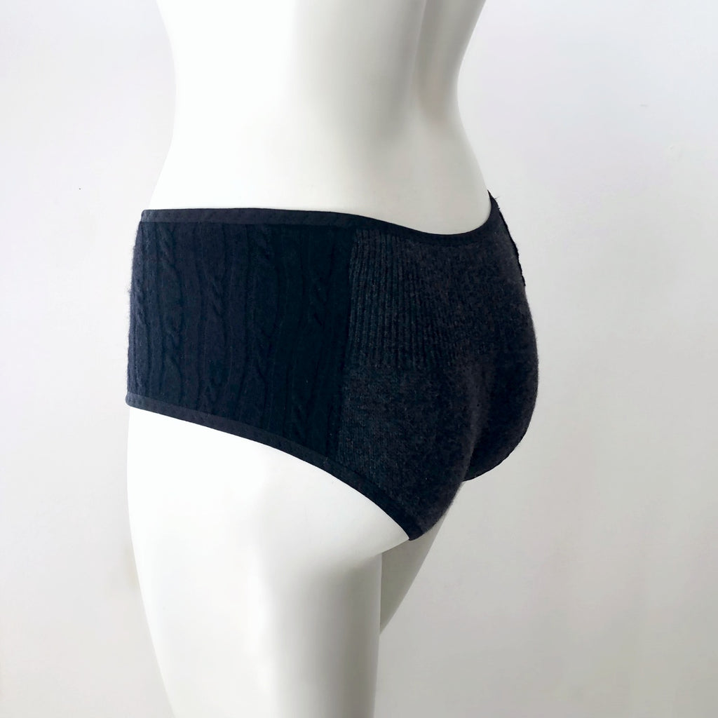 hipster panties black cashmere