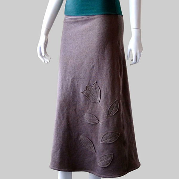 womens maxi skirt in bamboo knit with applique