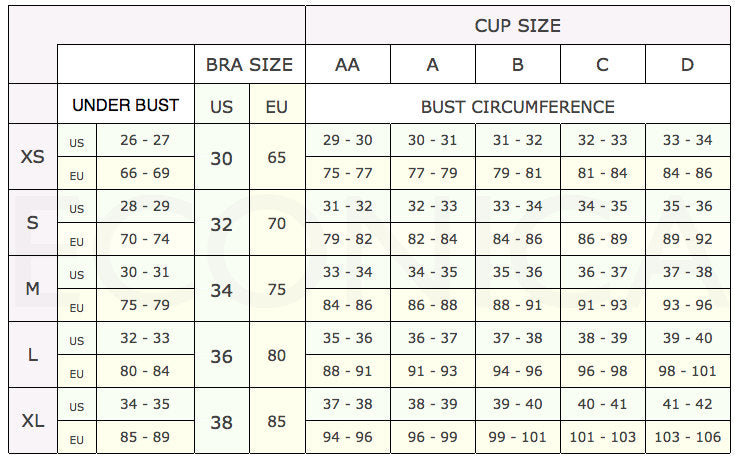 bra conversion chart