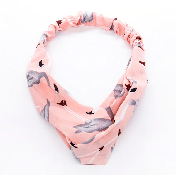pink flamingo headband turban