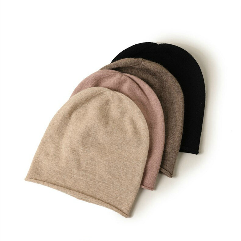 cashmere beanies rolled hem