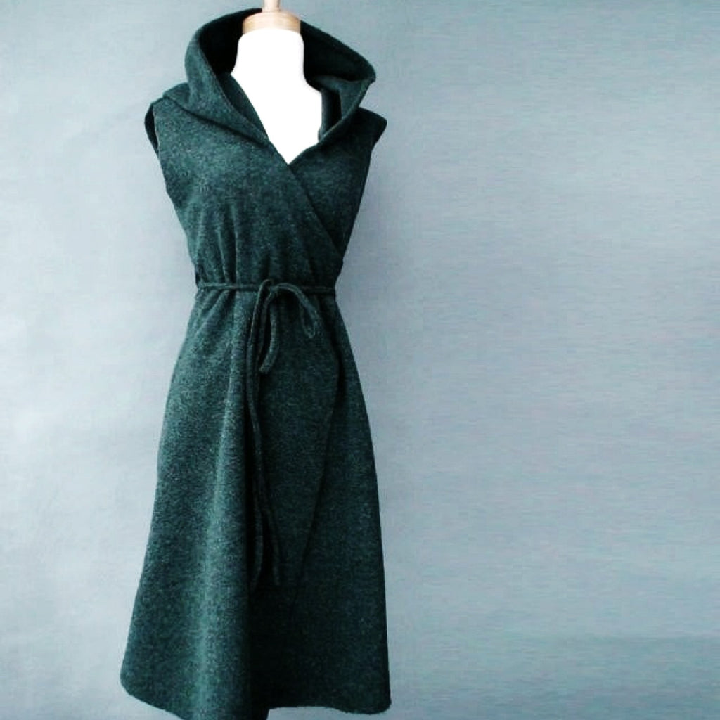 long green jacket, long wrap coat with hood, sleeveless dress, jacket with seam pockets, made to order, long coat, long hooded jacket, wrap coat