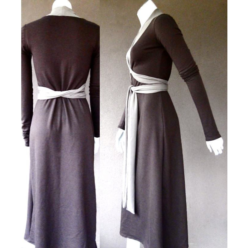 long brown wrap dress