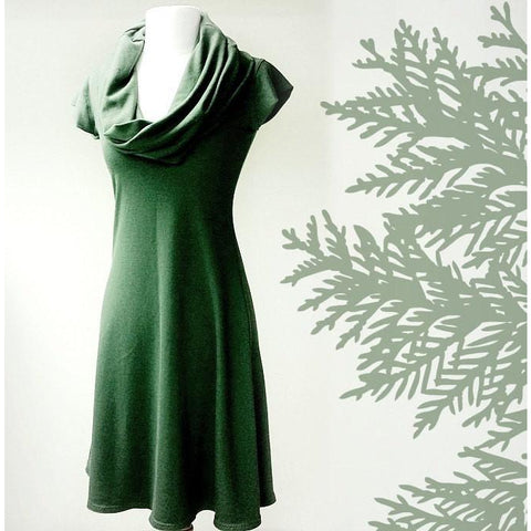 Tunic dress with oversized cowl in forest green or more colors, organic women's clothing