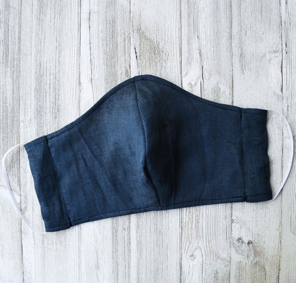 blue linen face mask