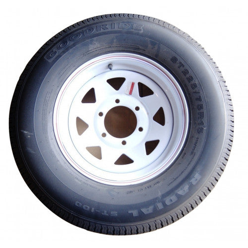 "Tire Wheel 225/75 R15 6 on 5.5"" White Spoke Goodride"