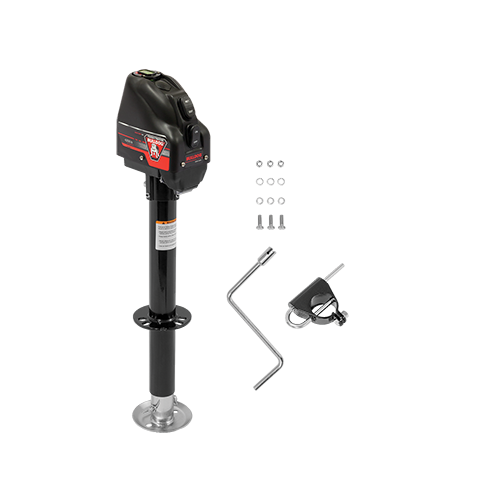 "Powered Drive Tongue Jack, A-Frame, 22"" Travel, Black Case, Rating 4,000 lbs."