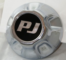 "Chrome 5 on 5"" Hub Cover w/ PJ Logo -AT NexAge Trailer Parts We Price Match Etrailer with Free Shipping, PJ Trailer Parts"