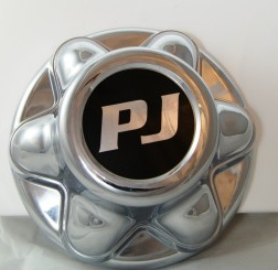 Chrome 6 Lug Hub Cover w/ PJ Logo -AT NexAge Trailer Parts We Price Match Etrailer with Free Shipping, PJ Trailer Parts