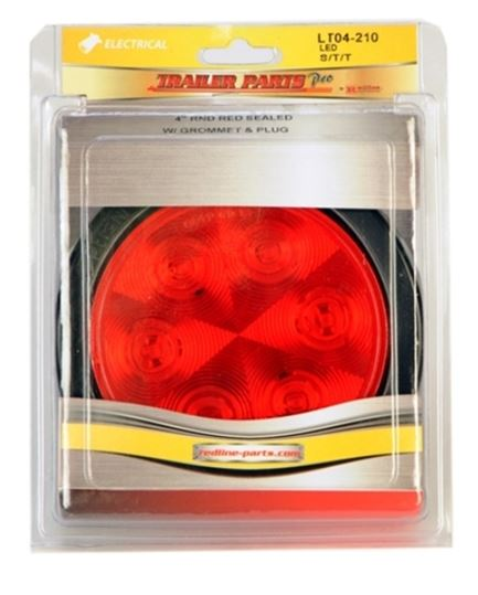 Redline 4in Round LED Stop/Turn/Tail w/Grommet & Pigtail LT04-210