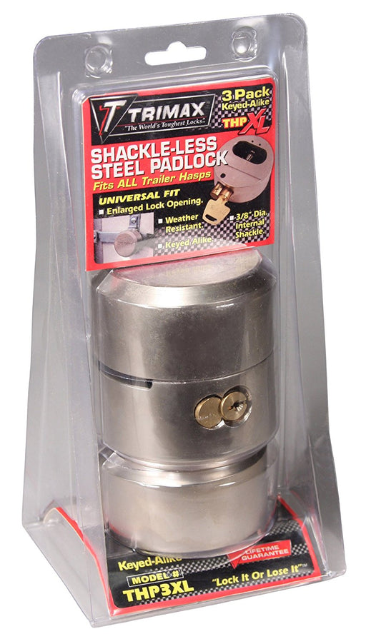 Trimax THP3XL Hockey Puck Keyed Alike Internal Shackle Trailer Door Lock, (Pack of 3)