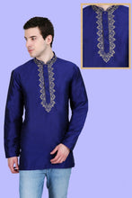 Load image into Gallery viewer, Men's Embroidered Kurtas - Blue