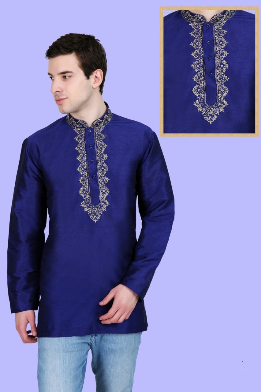Men's Embroidered Kurtas - Blue