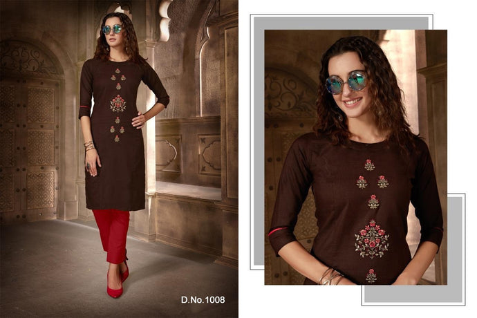 Festival Cotton Kurtis - Brown