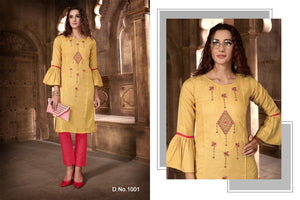 Festival Cotton Kurtis - Light Yellow