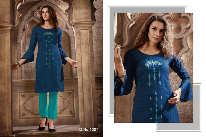 Festival Cotton Kurtis - Blue