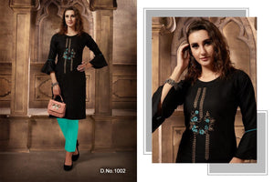 Festival Cotton Kurtis - Black