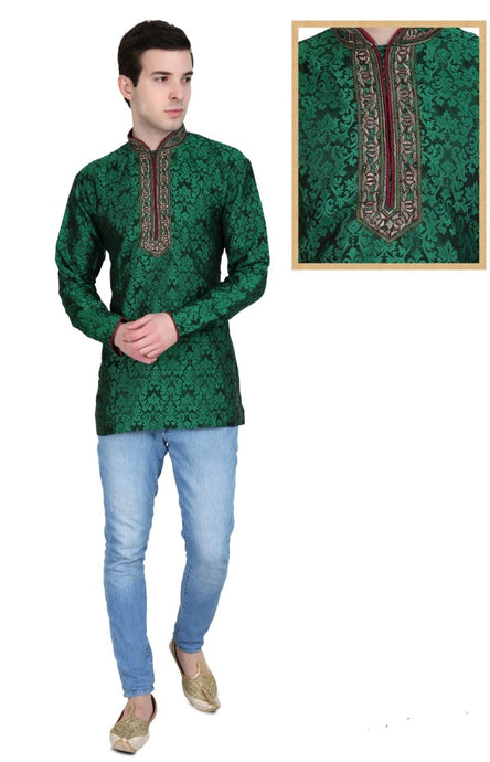 Men's Embroidered Kurtas - Green