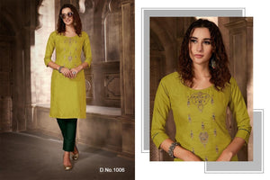 Festival Cotton Kurtis - Lime