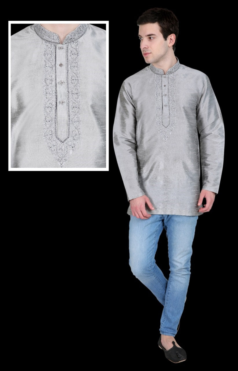 Men's Embroidered Kurtas - Silver