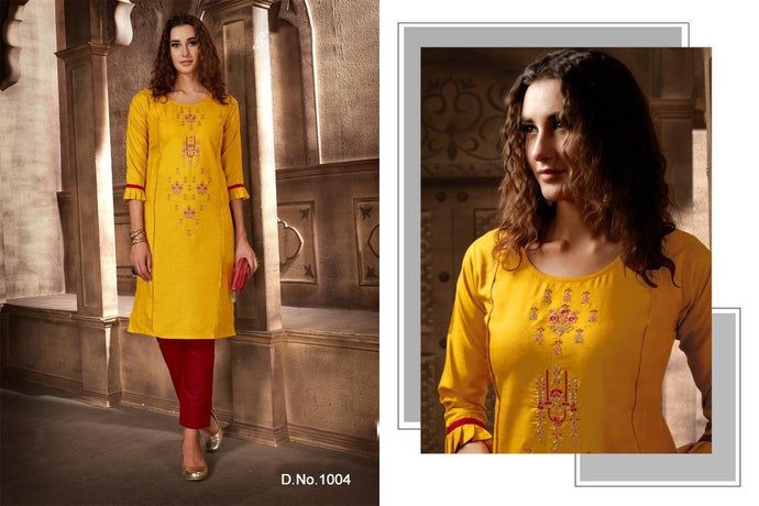 Festival Cotton Kurtis - Yellow