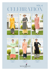 Kurti and Palazzo Pants Set - Peach/Blue