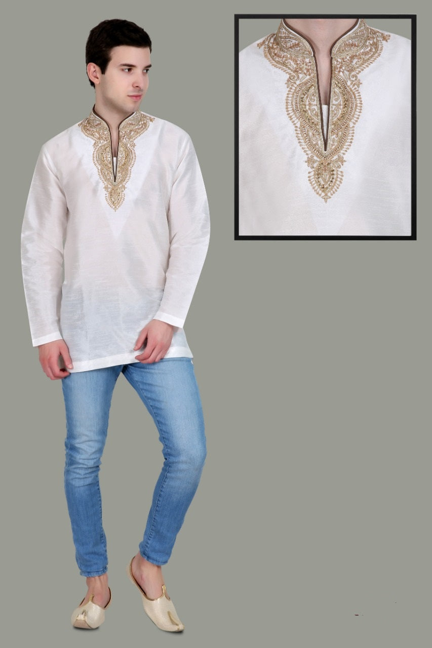 Men's Embroidered Kurtas - White