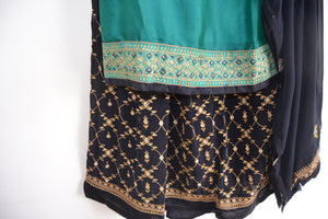 Sharara Suit Lengha - Turquoise/ Navy